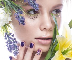 Girl with flowers and nail manicure HD picture 06