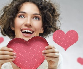 Girl with heart-shaped box Stock Photo 01