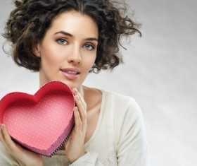 Girl with heart-shaped box Stock Photo 02