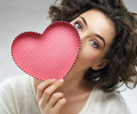 Girl with heart-shaped box Stock Photo 03