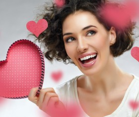 Girl with heart-shaped box Stock Photo 04