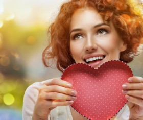 Girl with heart-shaped box Stock Photo 08