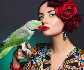 Girl with parrot Stock Photo 01