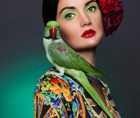 Girl with parrot Stock Photo 02