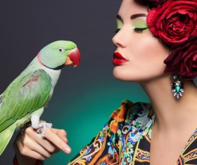 Girl with parrot Stock Photo 03