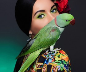 Girl with parrot Stock Photo 04