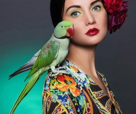 Girl with parrot Stock Photo 05