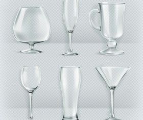 Glass cup set vector material