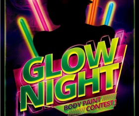 Glow Night Party Flyer Psd Template