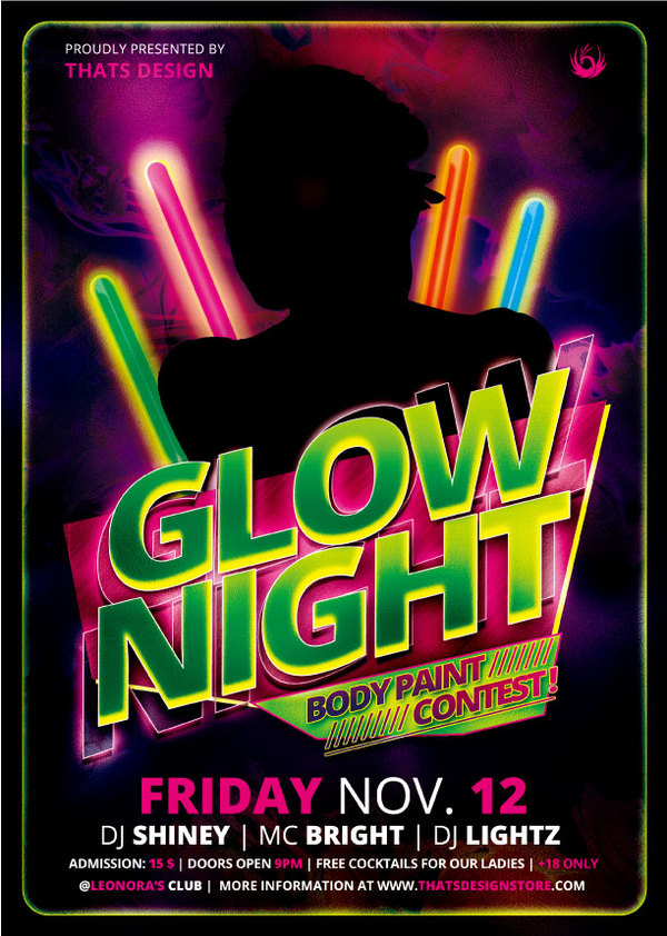 Glow Night Party Flyer Psd Template free download