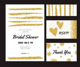 Gold glitter card with cover template vector