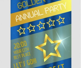 Golden annual party poster with stars vector