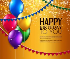 Golden birthday background with colored balloons vector