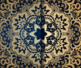 Golden ornament pattern with blue background vector 01