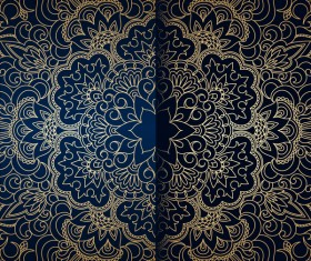 Golden ornament pattern with blue background vector 02