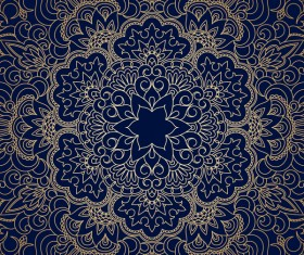 Golden ornament pattern with blue background vector 03