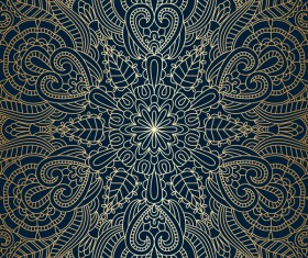 Golden ornament pattern with blue background vector 04
