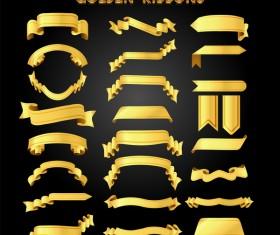 Golden ribbons vectors material set 01