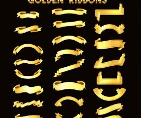 Golden ribbons vectors material set 03