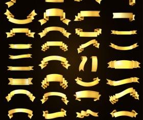 Golden ribbons vectors material set 04