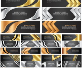 Golden with black abstract banner vectors set