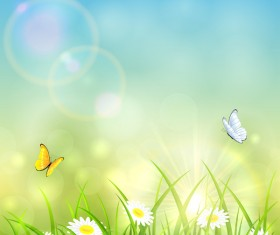 Grass and shinning sun vector background