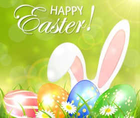 Green background with colored Easter eggs and rabbit vector