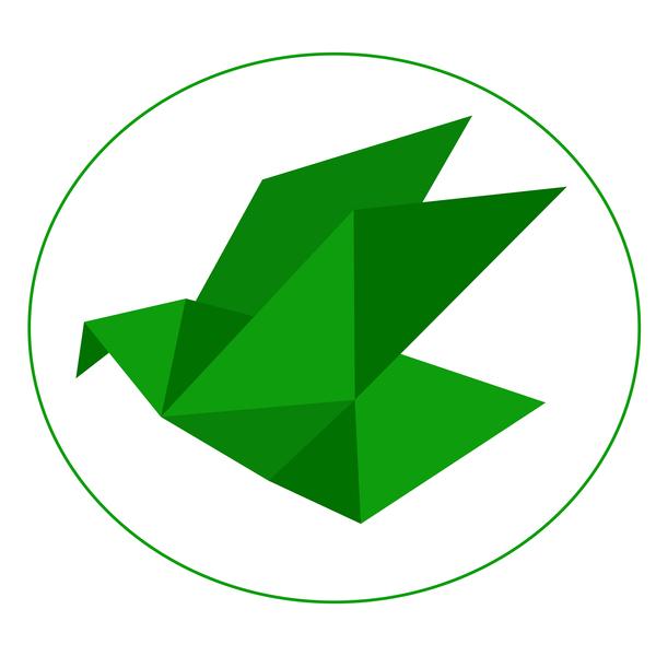 Green Origami Bird Vector