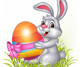 Gress with rabbit and easter egg vectors 01