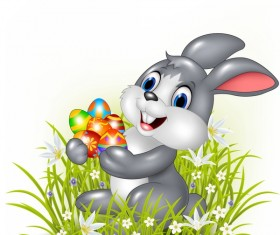 Gress with rabbit and easter egg vectors 02