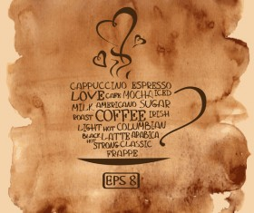 Grunge watercolor coffee background vector 01
