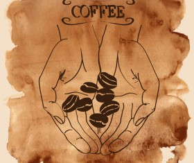 Grunge watercolor coffee background vector 02