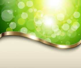 Halation green background with metal decorative vector 01