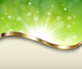 Halation green background with metal decorative vector 03