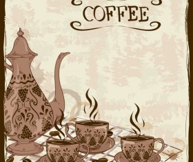 Hand drawn coffee background vectors 02