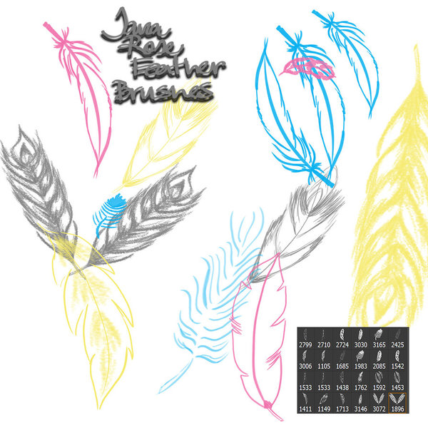 Hand drawn feathers photoshop brushes