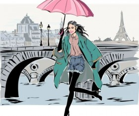 Hand drawn gril with paris travel background vector 01