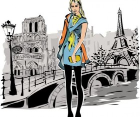 Hand drawn gril with paris travel background vector 02