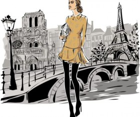 Hand drawn gril with paris travel background vector 03