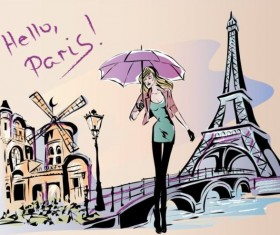 Hand drawn gril with paris travel background vector 04