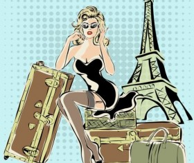 Hand drawn gril with paris travel background vector 05
