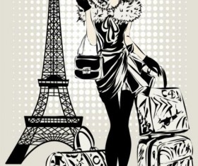 Hand drawn gril with paris travel background vector 07