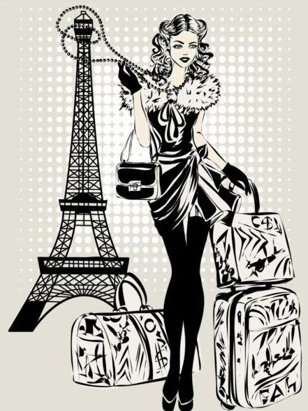 hand drawn gril with paris travel background vector 07 free download