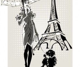 Hand drawn gril with paris travel background vector 08