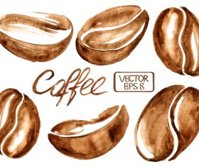 Hand drawn watercolor coffee beans vector