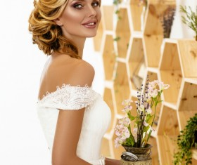 Hand holding a flower pot of dignified beauty woman Stock Photo 06