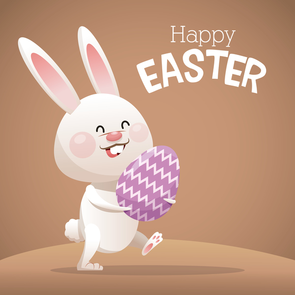 Happy easter card with cartoon bunny vector 10