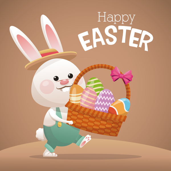Happy easter card with cartoon bunny vector 02 Vector Animal – Happy Easter Card