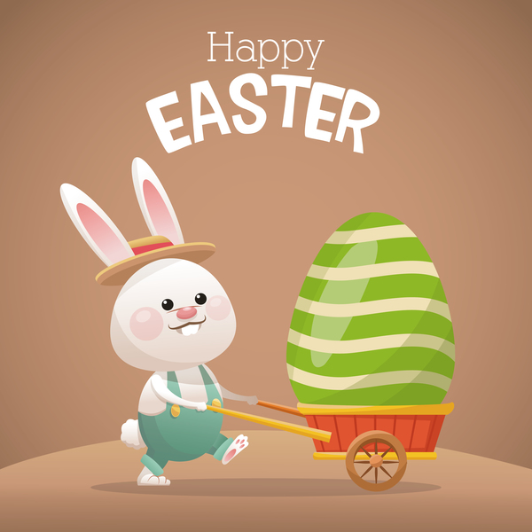 Happy easter card with cartoon bunny vector 07 Vector Animal – Happy Easter Card