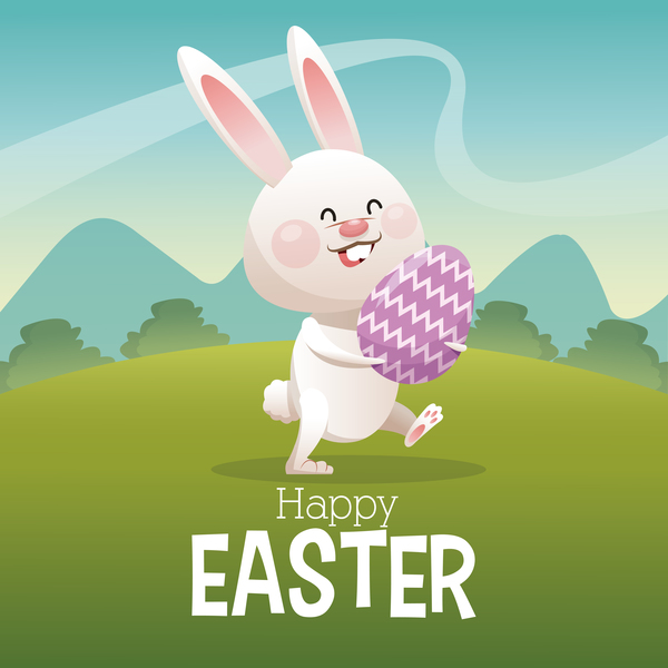 Happy easter card with cartoon bunny vector 09 Vector Animal – Happy Easter Card